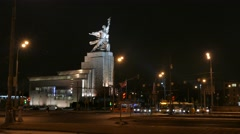 MOSCOW. RUSSIA-2015: VDNH. Worker and Kolkhoz Woman monument at night. Stock Footage