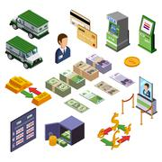 Banking Isometric Icons Set - stock illustration