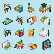 Library Isometric Icons Set - stock illustration
