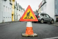 Roadwork sign on a cone - stock photo