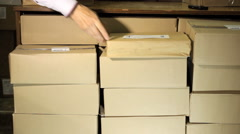 Package stack of books - stock footage