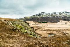 Iceland nature with plains and mountains Stock Photos