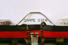 typewriter and text carpe diem - stock photo