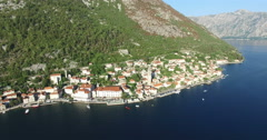 Aerial view of St. Nicholas Church in Perast, Montenegro Stock Footage