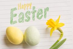 Happy easter greeting in bright colors - stock photo