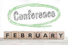 February conference sign made of wood - stock photo