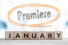 Premiere in January sign Stock Photos