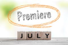 July premiere message on a stage Stock Photos