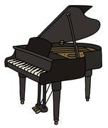 Classic black grand piano - stock illustration