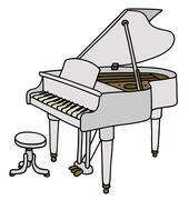 White grand piano Stock Illustration
