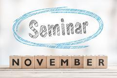 November seminar sign with wooden blocks - stock photo