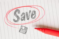 Save memo with a red circle Stock Photos