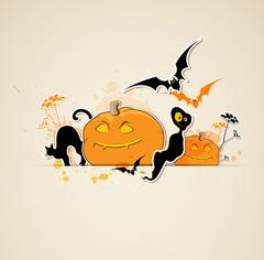 Halloween  background with ghost - stock illustration