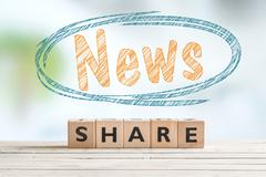 Share news word sign on a table - stock photo