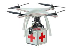 Drone with first aid kit Stock Illustration
