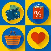 Set of flat shopping icons. Vector illustration. Stock Illustration