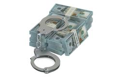 Handcuffs and dollars, crime concept Stock Illustration