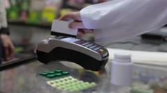 Using Credit Card Terminal with PIN in Pharmacy Stock Footage