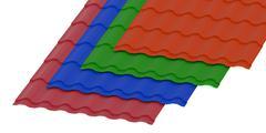 Corrugated slates sheets for roofing Stock Illustration