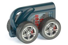 Motor Oil Canister on Wheels - stock illustration