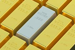 Gold and silver ingots Stock Illustration