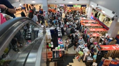 View of crowd at MBK mall interrior Stock Footage