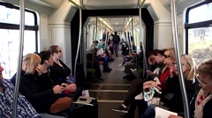Passengers riding on a Metro Train Car Stock Footage