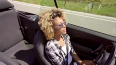 Young Black Sexy Lady Driving The Car Stock Footage