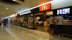 fast food in MBK mall in BKK city - stock footage