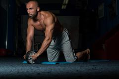 Exercise Whit A Ab Roller - stock photo