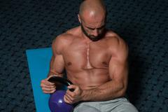 Abdominal Exercises With Kettlebell Bodybuilding Training Stock Photos