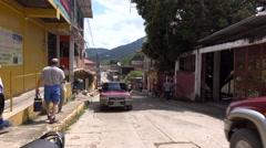 Traffic On A Street In Downtown Trujillo Honduras 4K - stock footage
