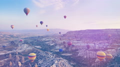 Colorful hot-air balloons flying over the mountain Stock Footage