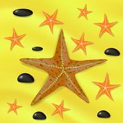 Plenty of Cushion Starfish on a Sandy Ocean Floor. Stock Illustration
