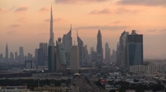 Time lapse, Sheikh Zayed Road skyline at dusk Stock Footage