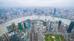 Time lapse-ShangHai Skyline in aerial view Stock Footage