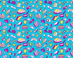Graffiti seamless pattern with line icons collage Stock Illustration