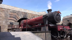 Harry Potter Hogwarts Express Steam Locomotive Train At Hogsmeade Stock Footage