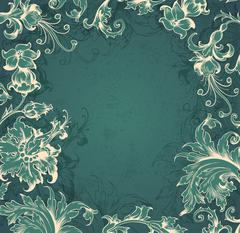 Green  Victorian background - stock illustration