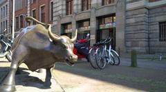 Amsterdam Stock Exchange Bull - Beursplein, The Netherlands Stock Footage