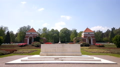 Canadian War Cemetery in Holten, monument at entrance Stock Footage