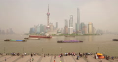 Shanghai Skyline Wide up-lift Stock Footage