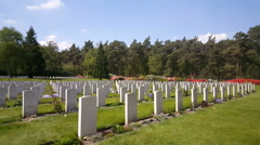 Canadian War Cemetery in Holten, graveyard soldiers Stock Footage