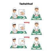 Muslim Prayer Guide Tashahhud Position - stock illustration