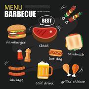 barbecue menu party. BBQ invitation template menu design set - stock illustration