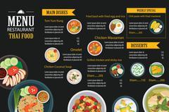 Vector thai food restaurant menu template flat design Piirros