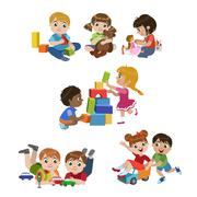 Kids Playing Indoors Set - stock illustration