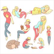 People Realxing Illustration Set - stock illustration