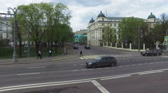 Streets of Moscow Spring View doubledecker Stock Footage