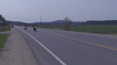 Slow motion motorcycle buddies riding together Stock Footage